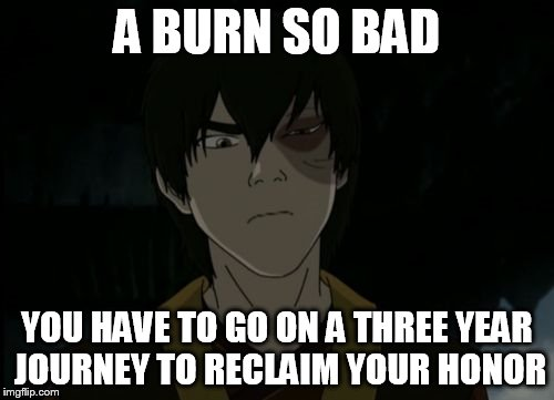 zuko | A BURN SO BAD YOU HAVE TO GO ON A THREE YEAR JOURNEY TO RECLAIM YOUR HONOR | image tagged in zuko | made w/ Imgflip meme maker