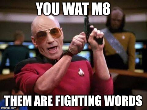 U wat m9 | YOU WAT M8 THEM ARE FIGHTING WORDS | image tagged in u wat m9 | made w/ Imgflip meme maker