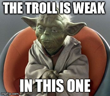 Yoda | THE TROLL IS WEAK IN THIS ONE | image tagged in yoda | made w/ Imgflip meme maker