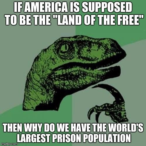 "Philosoraptor Meme | IF AMERICA IS SUPPOSED TO BE THE ""LAND OF THE FREE"" THEN WHY DO WE HAVE THE WORLD'S LARGEST PRISON POPULATION 