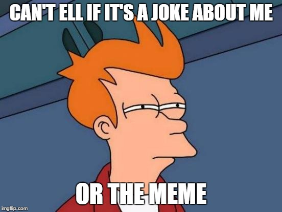 Futurama Fry Meme | CAN'T ELL IF IT'S A JOKE ABOUT ME OR THE MEME | image tagged in memes,futurama fry | made w/ Imgflip meme maker