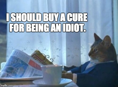 I Should Buy A Boat Cat Meme | I SHOULD BUY A CURE FOR BEING AN IDIOT. | image tagged in memes,i should buy a boat cat | made w/ Imgflip meme maker