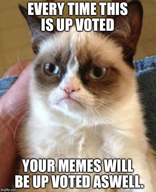 Up vote this meme and, if you comment, I will up vote all of yours!!! | EVERY TIME THIS IS UP VOTED YOUR MEMES WILL BE UP VOTED ASWELL. | image tagged in memes,grumpy cat | made w/ Imgflip meme maker