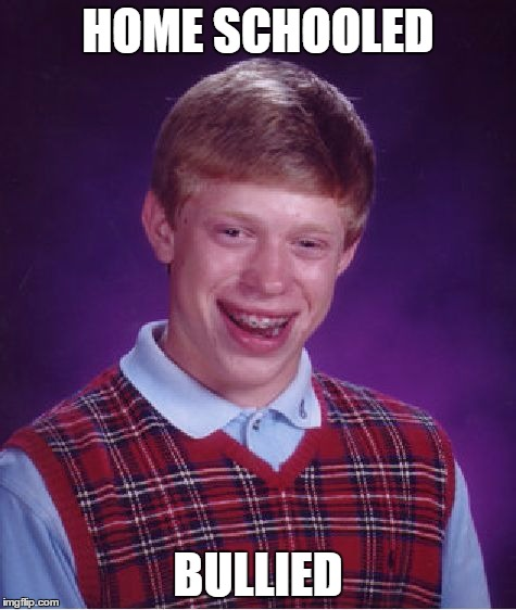 Bad Luck Brian Meme | HOME SCHOOLED BULLIED | image tagged in memes,bad luck brian | made w/ Imgflip meme maker