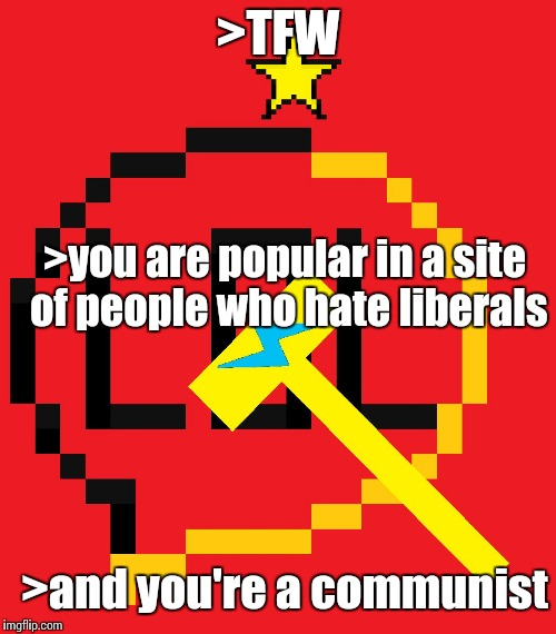 >TFW >you are popular in a site of people who hate liberals >and you're a communist | made w/ Imgflip meme maker