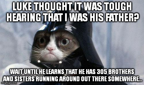 Grumpy Cat Star Wars | LUKE THOUGHT IT WAS TOUGH HEARING THAT I WAS HIS FATHER? WAIT UNTIL HE LEARNS THAT HE HAS 305 BROTHERS AND SISTERS RUNNING AROUND OUT THERE  | image tagged in memes,grumpy cat star wars,grumpy cat | made w/ Imgflip meme maker