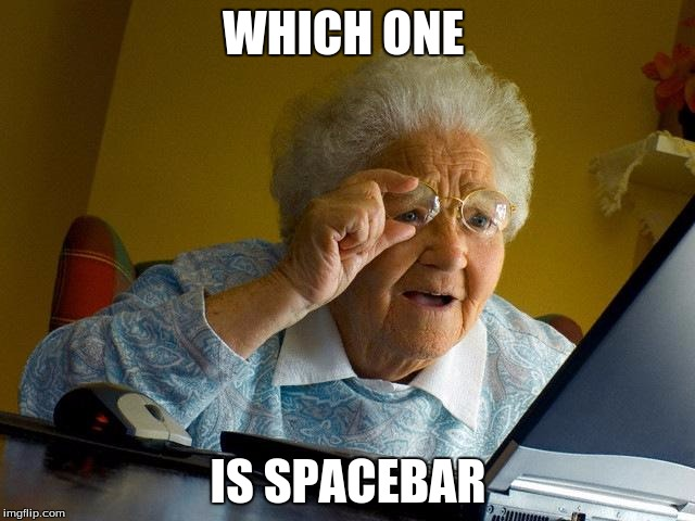 Grandma Finds The Internet Meme | WHICH ONE IS SPACEBAR | image tagged in memes,grandma finds the internet | made w/ Imgflip meme maker