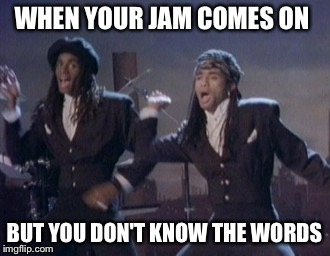 I can't sing | WHEN YOUR JAM COMES ON BUT YOU DON'T KNOW THE WORDS | image tagged in my jam,milli vanilli,jam | made w/ Imgflip meme maker