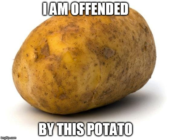 people these days | I AM OFFENDED BY THIS POTATO | image tagged in i am a potato | made w/ Imgflip meme maker