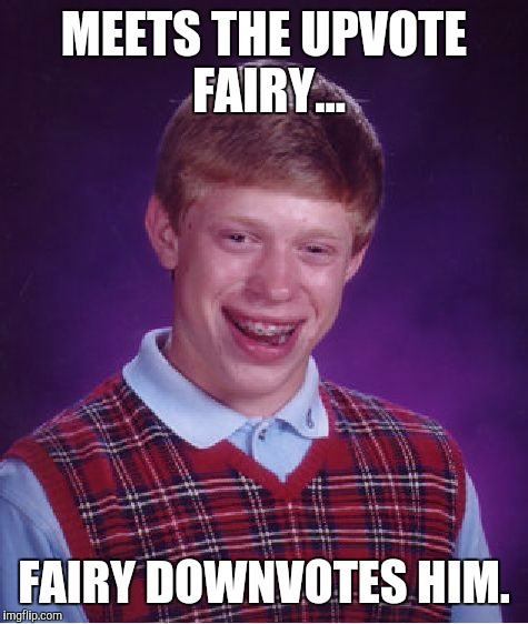 Bad Luck Brian Meme | MEETS THE UPVOTE FAIRY... FAIRY DOWNVOTES HIM. | image tagged in memes,bad luck brian | made w/ Imgflip meme maker