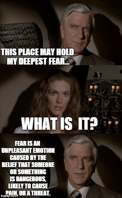 His Deepest Fear... | THIS PLACE MAY HOLD MY DEEPEST FEAR... FEAR IS AN UNPLEASANT EMOTION CAUSED BY THE BELIEF THAT SOMEONE OR SOMETHING IS DANGEROUS, LIKELY TO  | image tagged in airplane what is it | made w/ Imgflip meme maker