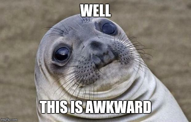 Awkward Moment Sealion Meme | WELL THIS IS AWKWARD | image tagged in memes,awkward moment sealion | made w/ Imgflip meme maker