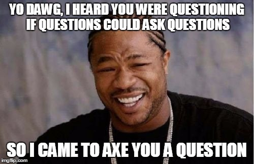 Yo Dawg Heard You Meme | YO DAWG, I HEARD YOU WERE QUESTIONING IF QUESTIONS COULD ASK QUESTIONS SO I CAME TO AXE YOU A QUESTION | image tagged in memes,yo dawg heard you | made w/ Imgflip meme maker