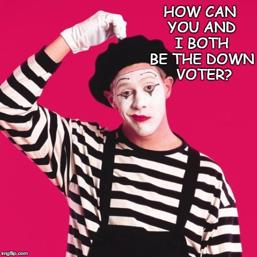 confused mime | HOW CAN YOU AND I BOTH BE THE DOWN  VOTER? | image tagged in confused mime | made w/ Imgflip meme maker