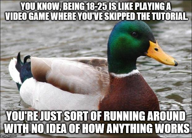 Good Advice mallard | YOU KNOW, BEING 18-25 IS LIKE PLAYING A VIDEO GAME WHERE YOU'VE SKIPPED THE TUTORIAL. YOU'RE JUST SORT OF RUNNING AROUND WITH NO IDEA OF HOW | image tagged in good advice mallard | made w/ Imgflip meme maker