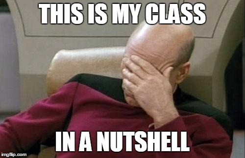 Captain Picard Facepalm Meme | THIS IS MY CLASS IN A NUTSHELL | image tagged in memes,captain picard facepalm | made w/ Imgflip meme maker