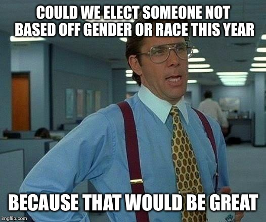 That Would Be Great Meme | COULD WE ELECT SOMEONE NOT BASED OFF GENDER OR RACE THIS YEAR BECAUSE THAT WOULD BE GREAT | image tagged in memes,that would be great | made w/ Imgflip meme maker