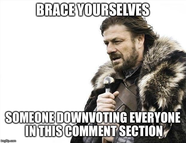 Brace Yourselves X is Coming Meme | BRACE YOURSELVES SOMEONE DOWNVOTING EVERYONE IN THIS COMMENT SECTION | image tagged in memes,brace yourselves x is coming | made w/ Imgflip meme maker