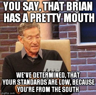Maury Lie Detector Meme | YOU SAY, THAT BRIAN HAS A PRETTY MOUTH WE'VE DETERMINED, THAT YOUR STANDARDS ARE LOW, BECAUSE YOU'RE FROM THE SOUTH | image tagged in memes,maury lie detector | made w/ Imgflip meme maker