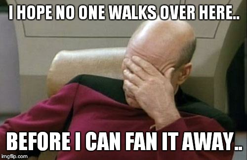 Captain Picard Facepalm Meme | I HOPE NO ONE WALKS OVER HERE.. BEFORE I CAN FAN IT AWAY.. | image tagged in memes,captain picard facepalm | made w/ Imgflip meme maker