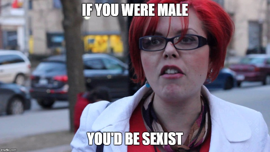 Feminazi | IF YOU WERE MALE YOU'D BE SEXIST | image tagged in feminazi | made w/ Imgflip meme maker