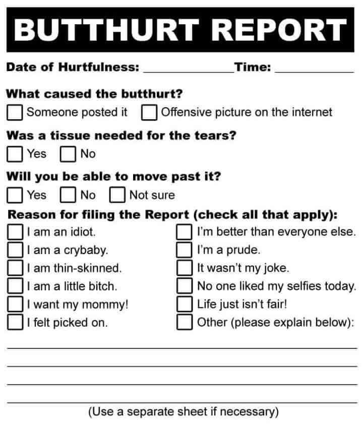 Butthurt Report Blank Template - Imgflip