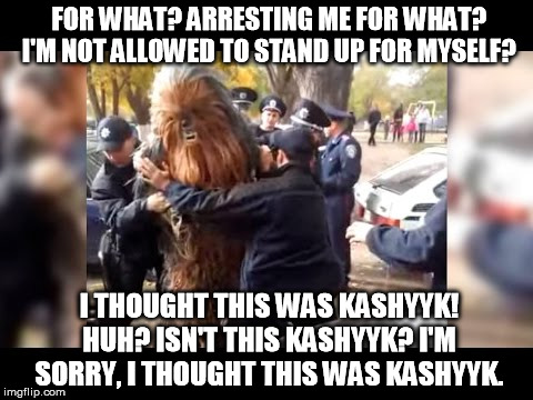 *translated from drunken Shyriiwook | FOR WHAT? ARRESTING ME FOR WHAT? I'M NOT ALLOWED TO STAND UP FOR MYSELF? I THOUGHT THIS WAS KASHYYK! HUH? ISN'T THIS KASHYYK? I'M SORRY, I T | image tagged in this isn't kashyyk,star wars kills disney,randy marsh,south park,drunk | made w/ Imgflip meme maker