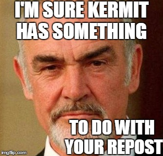 connery | I'M SURE KERMIT HAS SOMETHING TO DO WITH YOUR REPOST | image tagged in connery | made w/ Imgflip meme maker