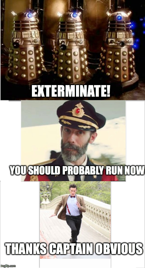 The Doctor and The Captain | EXTERMINATE! YOU SHOULD PROBABLY RUN NOW THANKS CAPTAIN OBVIOUS | image tagged in memes,doctor who,captain obvious | made w/ Imgflip meme maker