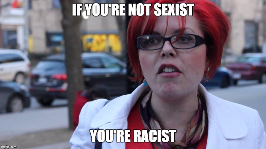 Feminazi | IF YOU'RE NOT SEXIST YOU'RE RACIST | image tagged in feminazi | made w/ Imgflip meme maker