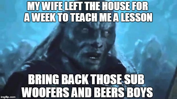 Lord of the Rings Meat's back on the menu | MY WIFE LEFT THE HOUSE FOR A WEEK TO TEACH ME A LESSON BRING BACK THOSE SUB WOOFERS AND BEERS BOYS | image tagged in lord of the rings meat's back on the menu | made w/ Imgflip meme maker