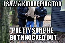 Kidnapping | I SAW A KIDNAPPING TOO PRETTY SURE HE GOT KNOCKED OUT | image tagged in kidnapping | made w/ Imgflip meme maker