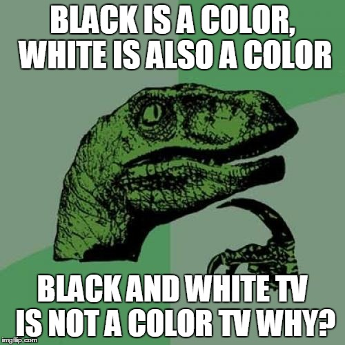 Philosoraptor Meme | BLACK IS A COLOR, WHITE IS ALSO A COLOR BLACK AND WHITE TV IS NOT A COLOR TV WHY? | image tagged in memes,philosoraptor | made w/ Imgflip meme maker