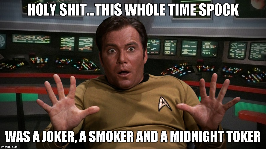 Captain Kirk | HOLY SHIT...THIS WHOLE TIME SPOCK WAS A JOKER, A SMOKER AND A MIDNIGHT TOKER | image tagged in captain kirk | made w/ Imgflip meme maker