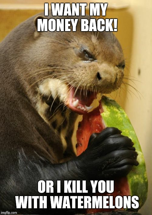 Self Loathing Otter | I WANT MY MONEY BACK! OR I KILL YOU WITH WATERMELONS | image tagged in memes,self loathing otter | made w/ Imgflip meme maker