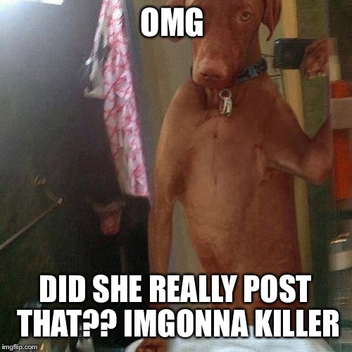 Omg srsly Shelby  | OMG DID SHE REALLY POST THAT?? IMGONNA KILLER | image tagged in nude selfie | made w/ Imgflip meme maker