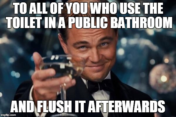 Leonardo Dicaprio Cheers Meme | TO ALL OF YOU WHO USE THE TOILET IN A PUBLIC BATHROOM AND FLUSH IT AFTERWARDS | image tagged in memes,leonardo dicaprio cheers | made w/ Imgflip meme maker