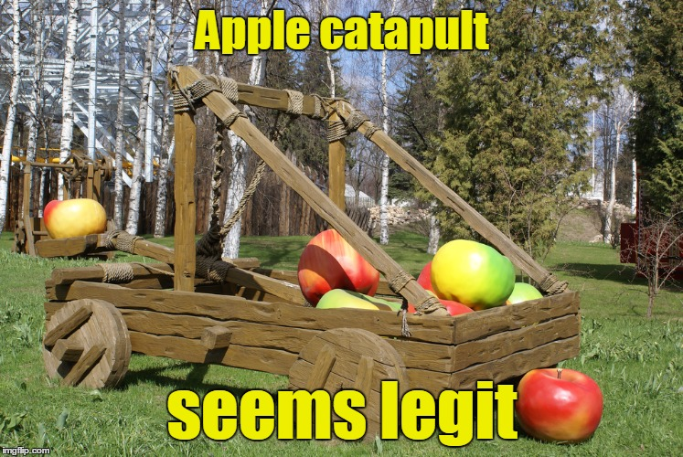Apple catapult seems legit | made w/ Imgflip meme maker