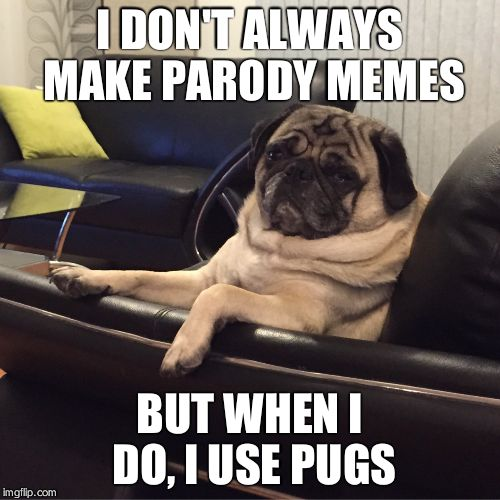 Most interesting pug in the world | I DON'T ALWAYS MAKE PARODY MEMES BUT WHEN I DO, I USE PUGS | image tagged in most interesting pug in the world | made w/ Imgflip meme maker