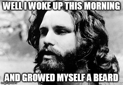 WELL I WOKE UP THIS MORNING AND GROWED MYSELF A BEARD | image tagged in morrison | made w/ Imgflip meme maker