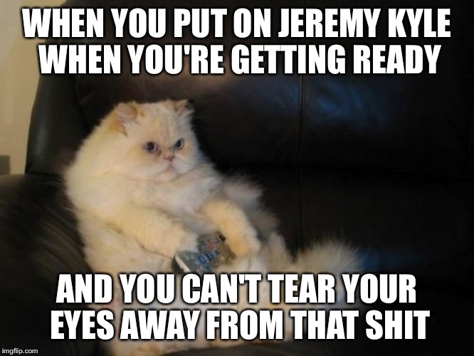 The joy of jezza | WHEN YOU PUT ON JEREMY KYLE WHEN YOU'RE GETTING READY AND YOU CAN'T TEAR YOUR EYES AWAY FROM THAT SHIT | image tagged in funny,cat,hilarious,tv,jeremy kyle,shit | made w/ Imgflip meme maker