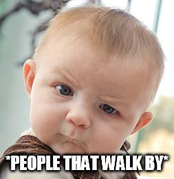 Skeptical Baby Meme | *PEOPLE THAT WALK BY* | image tagged in memes,skeptical baby | made w/ Imgflip meme maker
