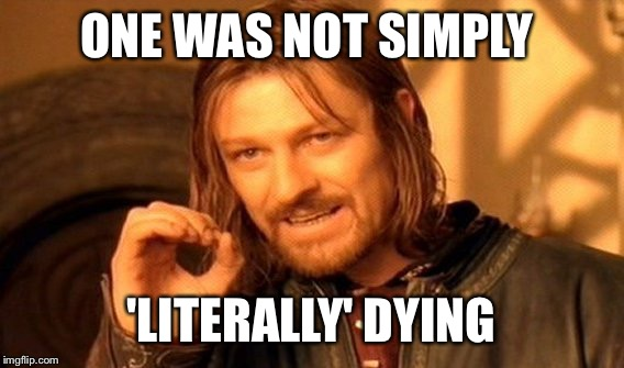 I'm sure u were literally dying. | ONE WAS NOT SIMPLY 'LITERALLY' DYING | image tagged in memes,one does not simply,literally | made w/ Imgflip meme maker
