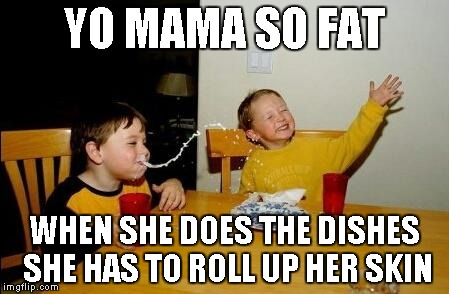 Yo Momma So Fat | YO MAMA SO FAT WHEN SHE DOES THE DISHES SHE HAS TO ROLL UP HER SKIN | image tagged in yo momma so fat | made w/ Imgflip meme maker