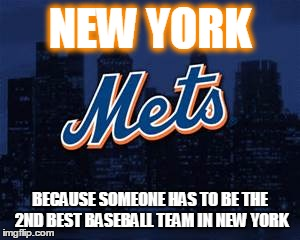 new york mets | NEW YORK BECAUSE SOMEONE HAS TO BE THE 2ND BEST BASEBALL TEAM IN NEW YORK | image tagged in new york mets | made w/ Imgflip meme maker