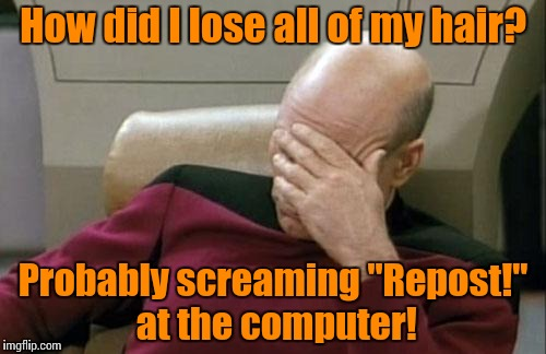 "Captain Picard Facepalm Meme | How did I lose all of my hair? Probably screaming ""Repost!"" at the computer! 