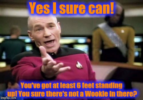 Picard Wtf Meme | Yes I sure can! You've got at least 6 feet standing up! You sure there's not a Wookie in there? | image tagged in memes,picard wtf | made w/ Imgflip meme maker