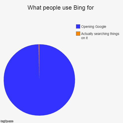 What people use Bing for | Actually searching things on it, Opening Google | image tagged in funny,pie charts | made w/ Imgflip chart maker
