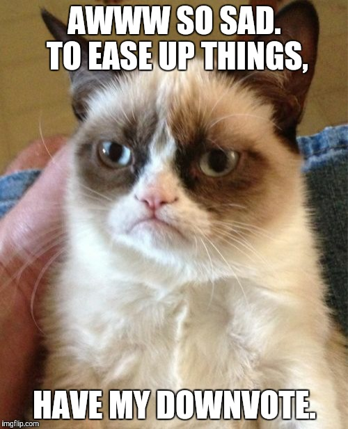 Grumpy Cat Meme | AWWW SO SAD. TO EASE UP THINGS, HAVE MY DOWNVOTE. | image tagged in memes,grumpy cat | made w/ Imgflip meme maker