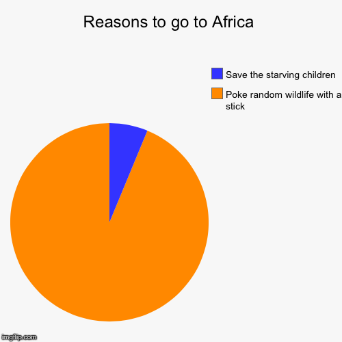 Poking wildlife | Reasons to go to Africa | Poke random wildlife with a stick , Save the starving children | image tagged in funny,pie charts,africa | made w/ Imgflip pie chart maker